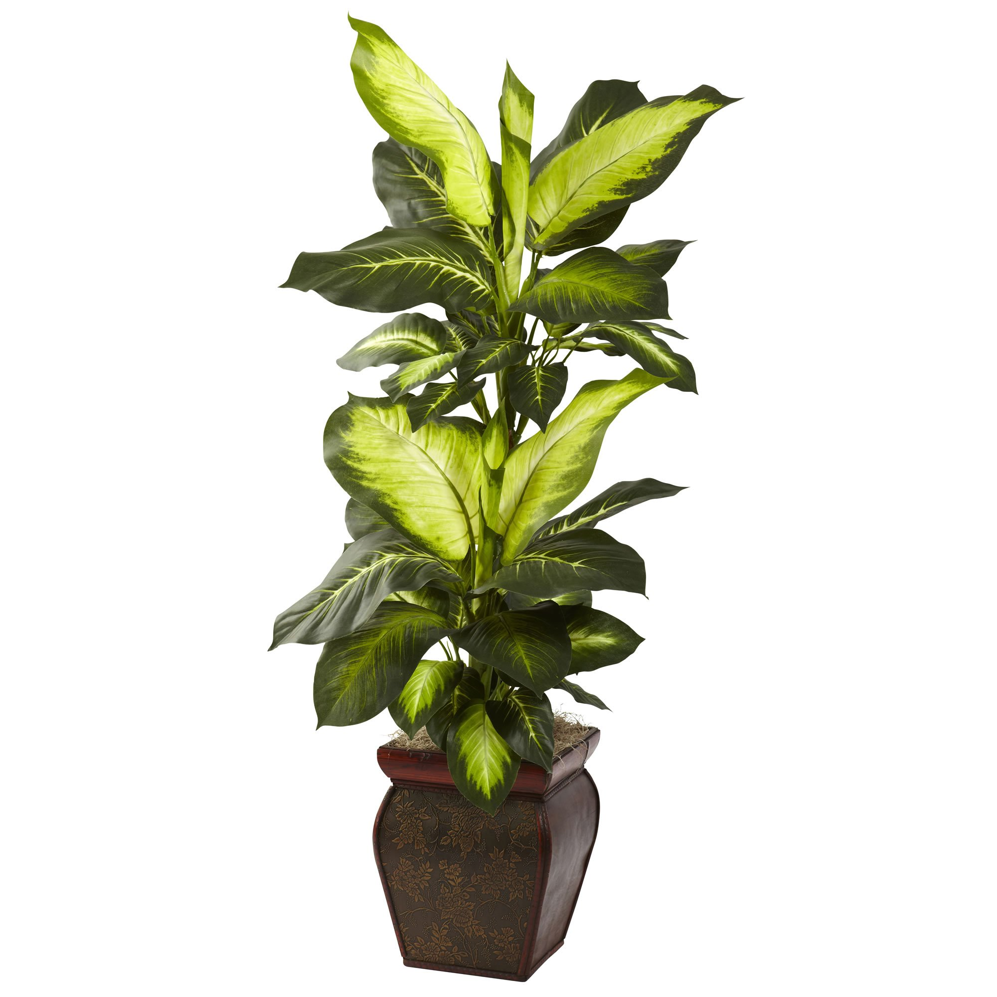 Nearly Natural 6731 Golden Dieffenbachia with Decorative Planter, Green by Nearly Natural