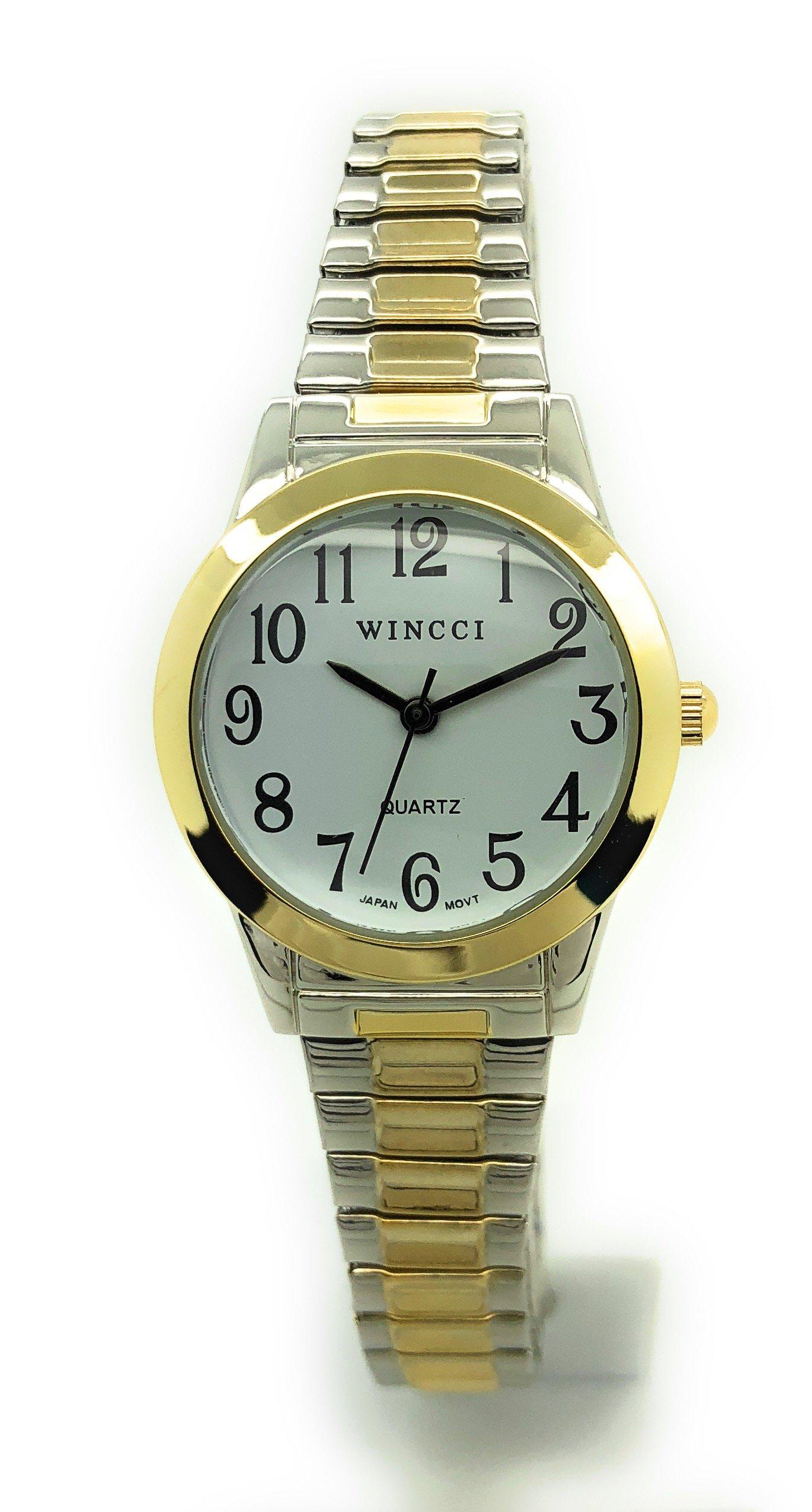 Ladies Classic Round Stretch Elastic Band Fashion Watch Wincci (Two Tone) by Wincci (Image #1)