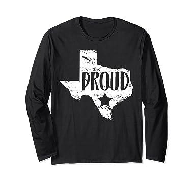 amazon com texas map texas proud star texas fan long sleeve tee