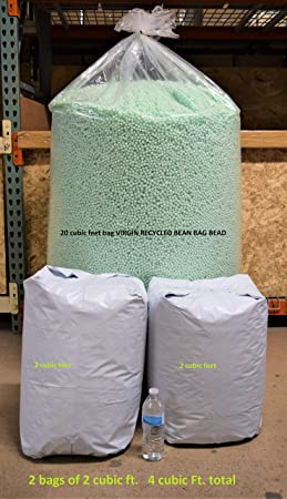 Bean Products Bean Bag Filling 4 Cubic ft. 114 liters Virgin Recycled New Eco Friendly Polystyrene EPS Bead beanbag Refill Made in USA