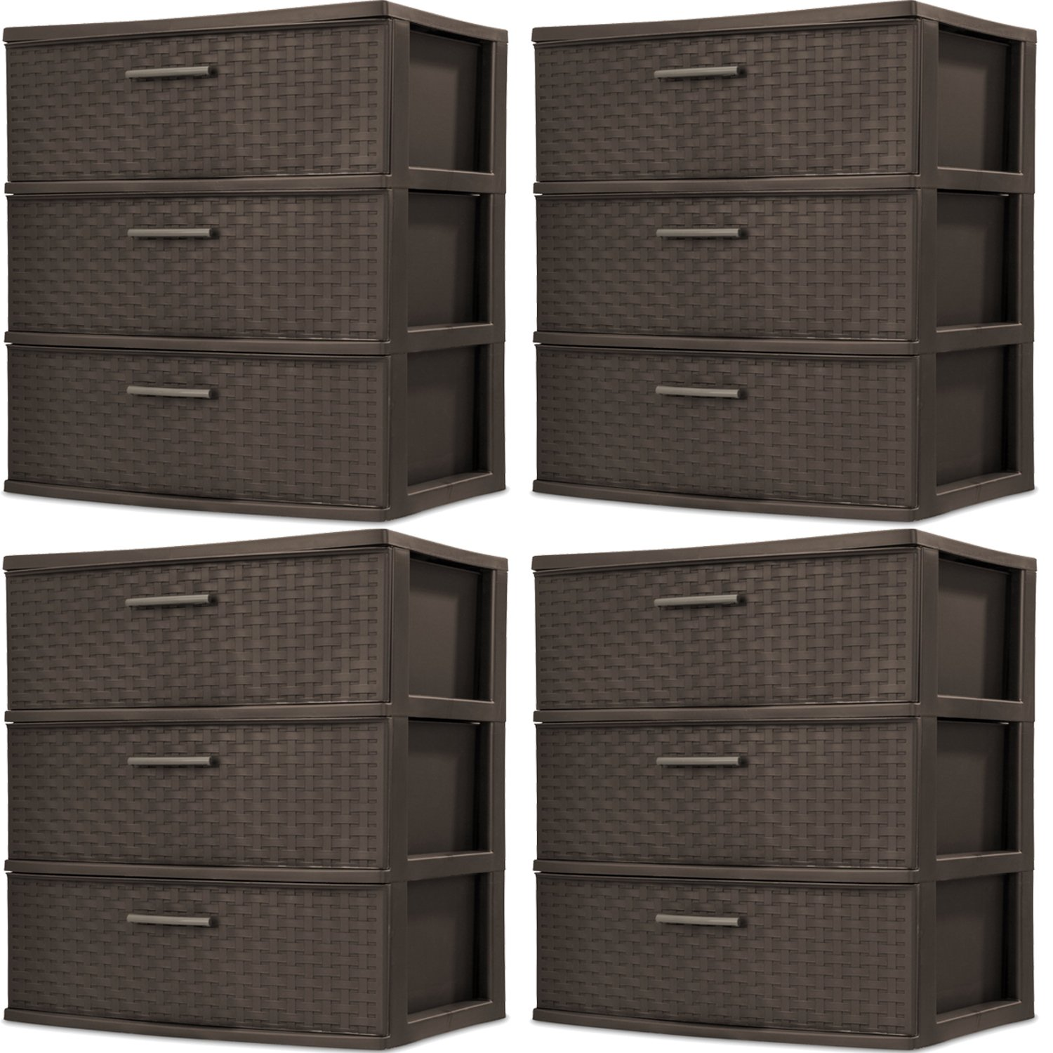 Sterilite 25306P01 3-Drawer Wide Weave Tower, Espresso Frame & Drawers w/ Driftwood Handles, 4-Pack
