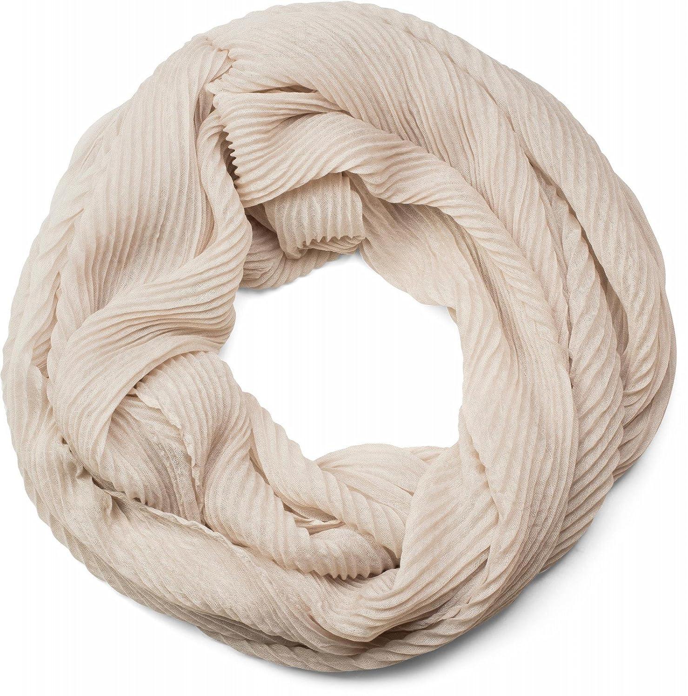 styleBREAKER Sciarpa a tubo con tessuto increspato, in tinta unita, effetto stropicciato, sciarpa scaldacollo, foulard, da donna 01016127 colore:Beige