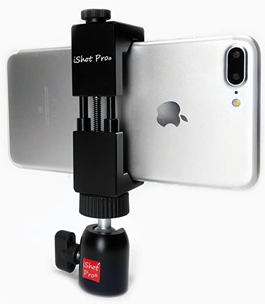 iShot Pro SecureGrip Metal iPhone Universal Smartphone Tripod Monopod Mount  Adapter Holder + 360° Swivel Ball Head for Tripod, Monopod and More -