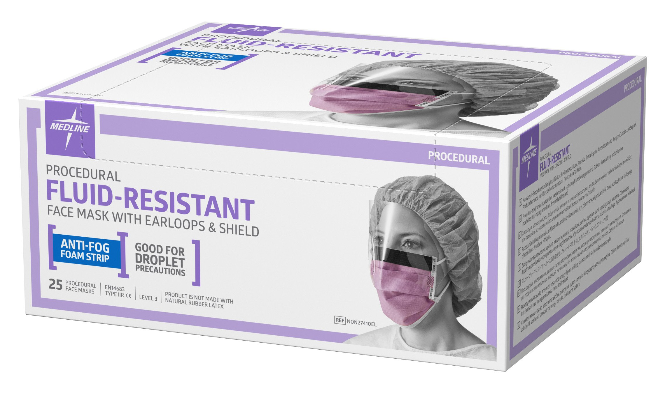 Medline NON27410EL Surgical Face Masks with Eyeshield and Earloop, Anit Fog, Fluid-Resistant, Latex Free, Purple (Pack of 100)