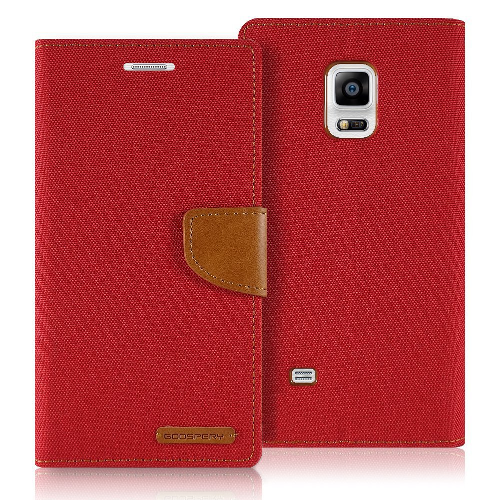 Samsung Galaxy S5 Case Mercury Goospery Canvas Denim S6 Diary Red Wallet Card Cash Slot Stand Drop Protection Flip Cover Cell Phones