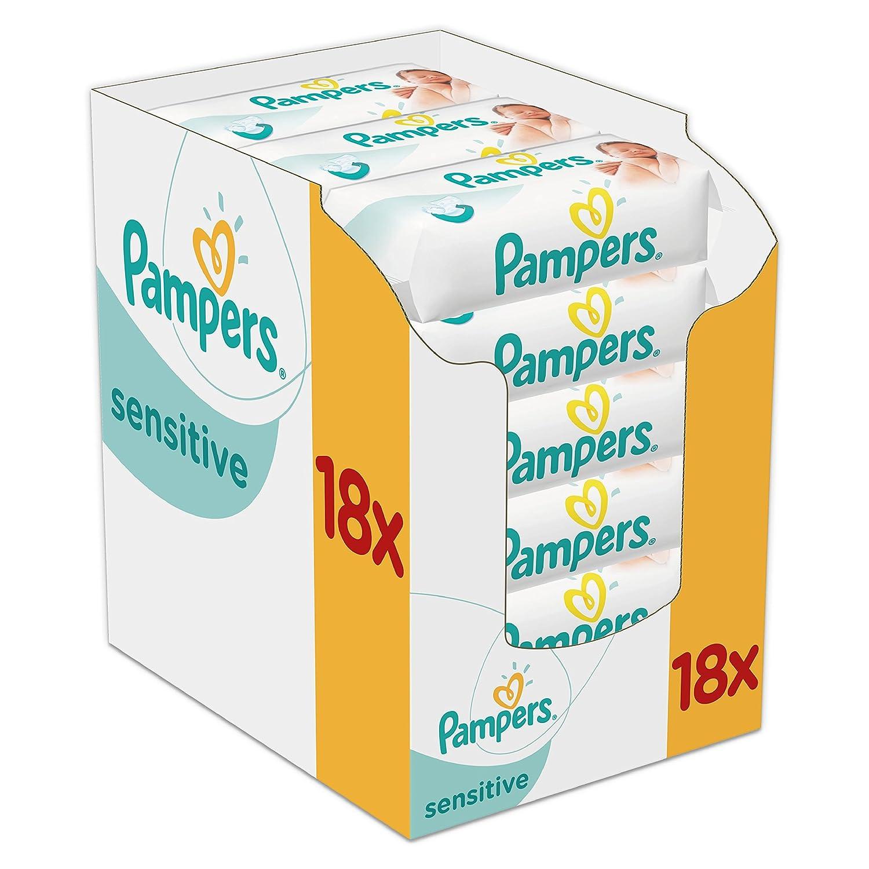 Pampers Sensitive Feuchttücher, 1008 Tücher, 18er Pack (18 x 56 Stück) 1008 Tücher 81576235