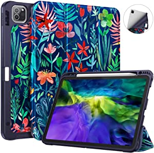 Fintie SlimShell Case with Pencil Holder for iPad Pro 11 Inch 2nd & 1st Generation 2020/2018 - [Supports 2nd Gen Pencil Charging] Soft TPU Smart Stand Back Cover with Auto Wake/Sleep, Jungle Night