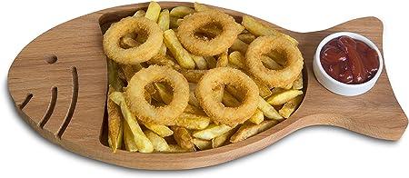 🐟 El plato perfecto: el plato de madera para servir pescado con un tazón de porcelana para salsa es