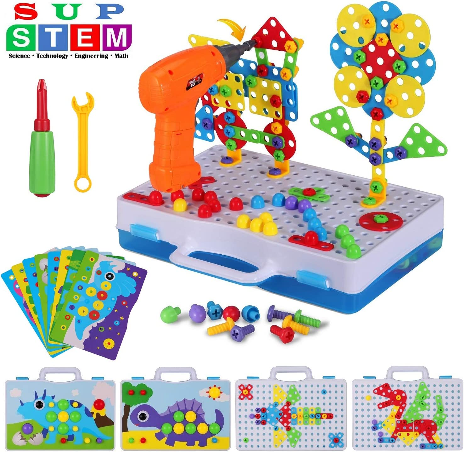 STEM Learning 224 Pcs Educational Construction Engineering Building Blocks Sets