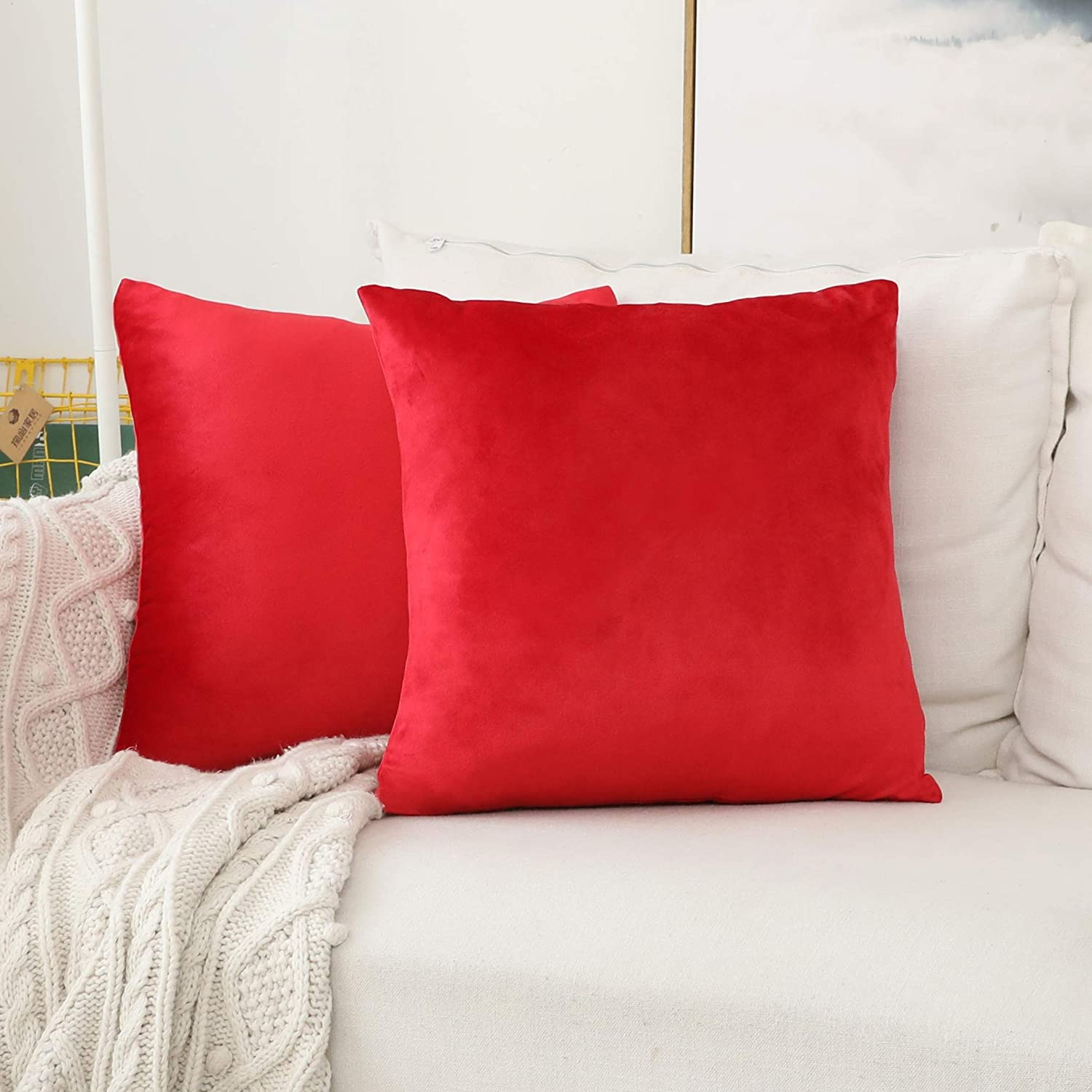 Home Brilliant Christmas Euro Shams Large Velvet Cushion Covers Pillow Case for Bedroom Floor Couch, Set of 2, 26 x 26 Inch(66cm), Ruby Red