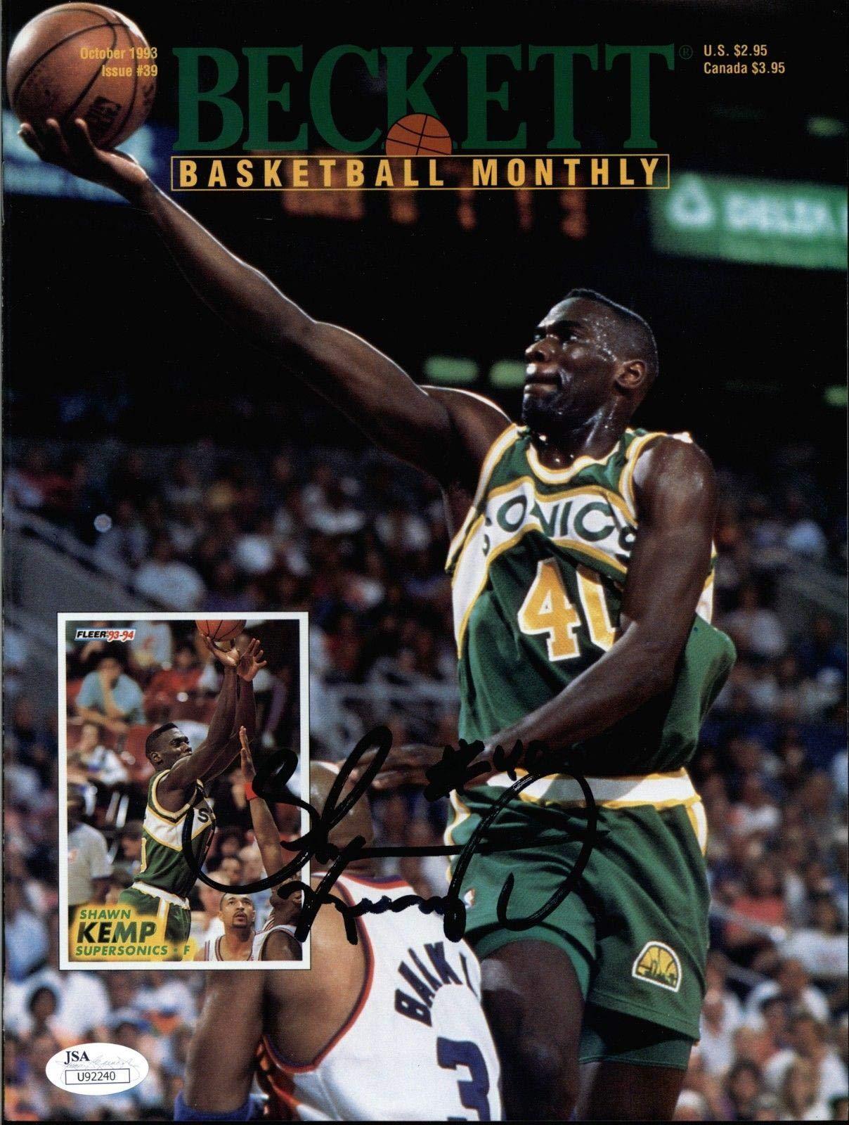 Shawn Kemp Sonics Signed 1993 Beckett Magazine COA JSA Certified Autographed NBA Magazines