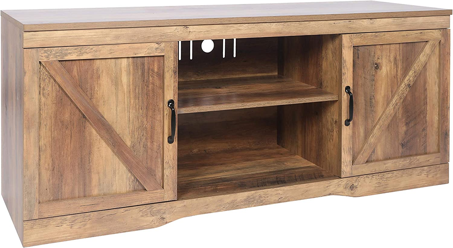 Media Console with Storage Doors,Entertainment Center,for Living Room Rustic Oak SCYL Color Your Life Barn Wooden TV Stand for TVs up to 65