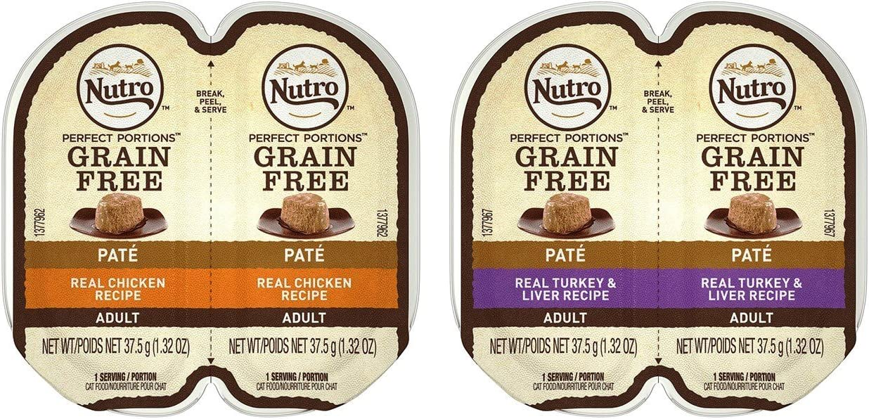 Nutro Feed Clean Grain Free Soft Loaf Cat Food 2 Flavor 8 Can Variety Bundle, (4) Each: Turkey & Liver, and Chicken - 2.6 Ounces (8 Cans Total)