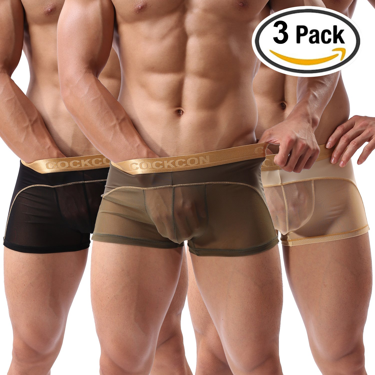Forest Men's Sexy Boxer Briefs Gay Mesh Breathable Cool Underwear 3 Pack(38ABG,XXL)