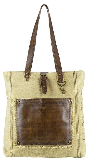 Bolso de compra señora Sunsa Vintage Bolso de hombro bolso de mano hecho de tela / tela con cuero: Amazon.es: Equipaje
