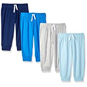 Amazon Essentials Baby Boys 4-Pack Pull-On Pant, Blue/Multi, 3-6M