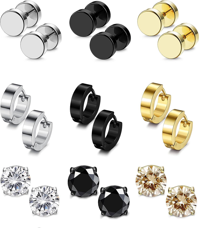 Besteel 9-12 Pairs Stainless Steel CZ Stud Earrings Hoop Earrings Gauge Earrings Set for Men Women piercing earrings