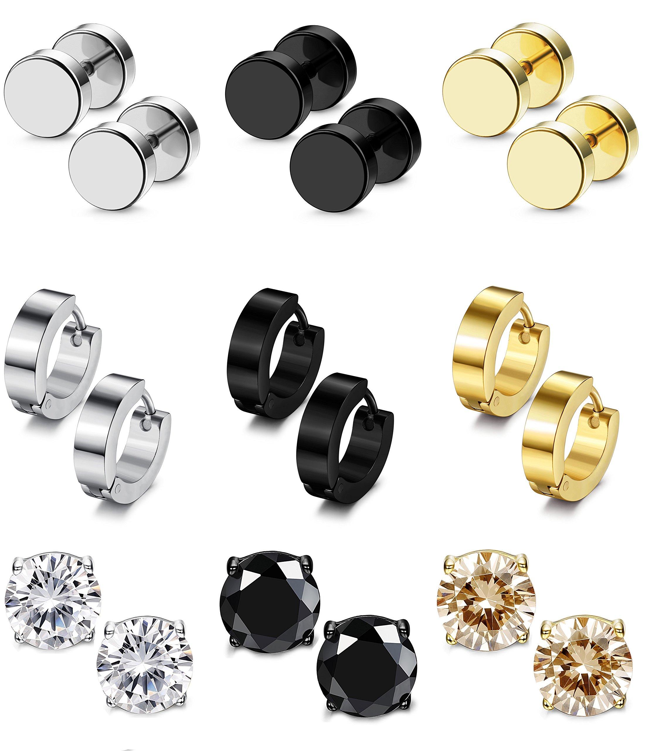 Besteel 9 Pairs Stainless Steel CZ Stud Earrings Hoop Earrings Gauge Earrings Set for Men Women piercing earrings