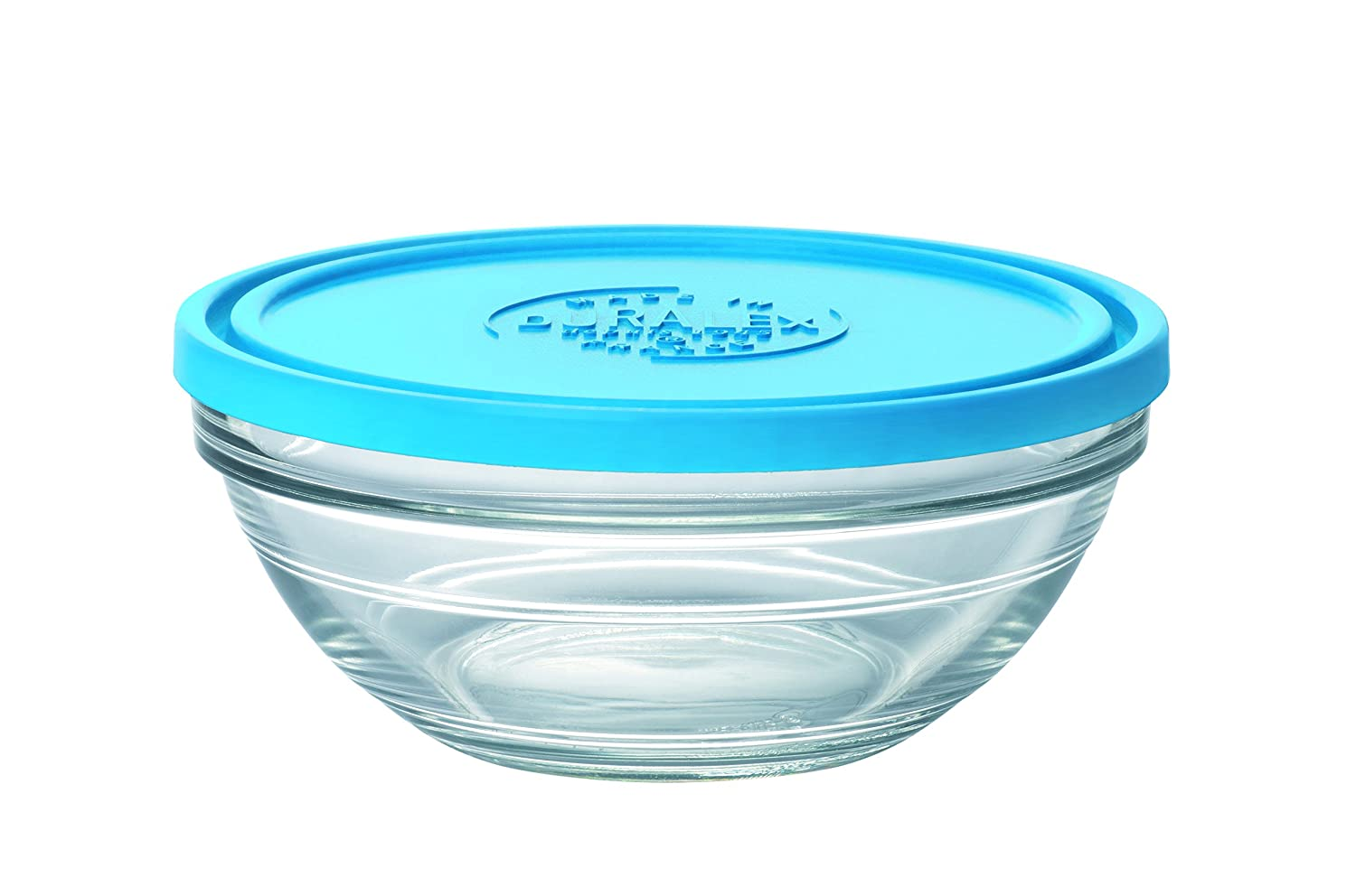 Duralex Made In France Lys Round Bowl with Lid, 1 quart, Clear/Blue