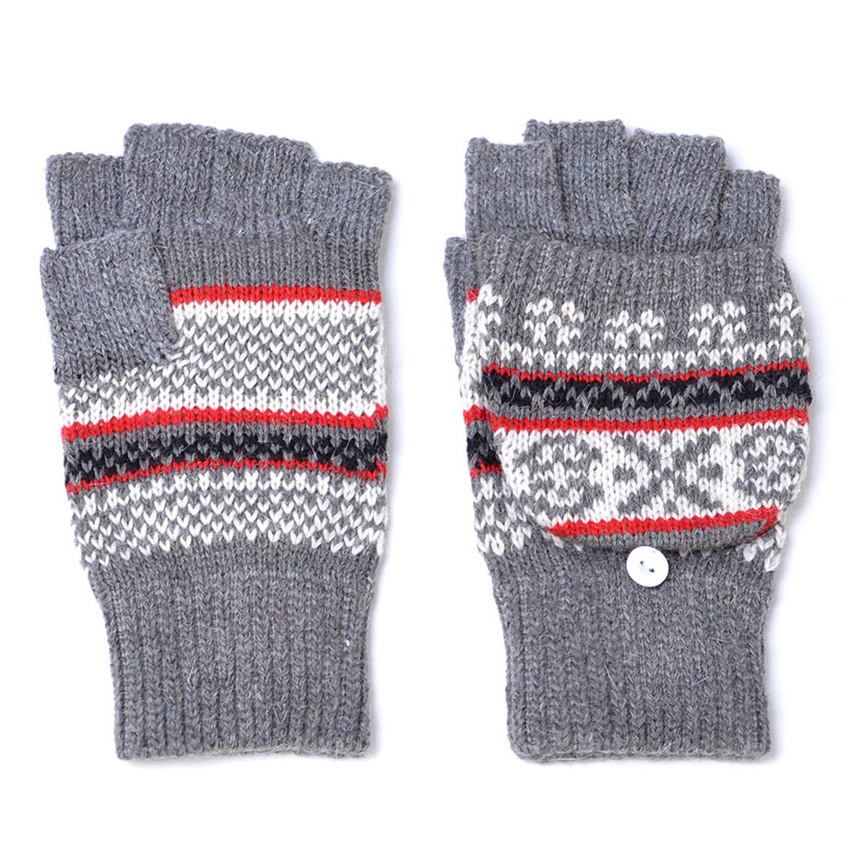 LL- Fingerless Flipover Wool Blend Womens Kids Mitten Winter Gloves Many Styles (Gray Multi Pattern)
