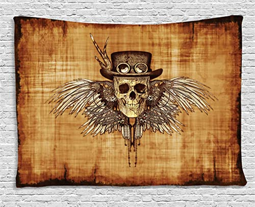 Ambesonne Skull Tapestry, Cool Skull on Parchement Background Retro Style Dead on Eagle Wings Gothic, Wide Wall Hanging for Bedroom Living Room Dorm, 80 X 60 , Pale Caramel