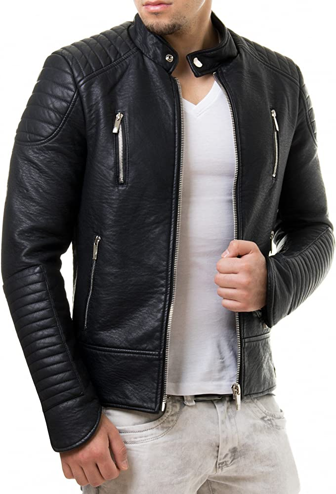 Prestige Homme Chaqueta de piel sintética para hombre, estilo ...