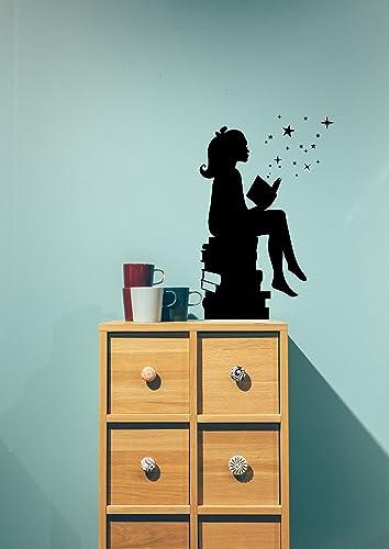 Amazon.com: Girl Reading Book Wall Decal, Baby Kid Bedroom Nursery ...
