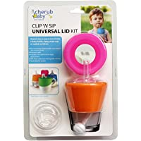 Cherub Baby Teat, Sippy and Straw Universal Silicone Stretch Lid Kit, Pink/Orange