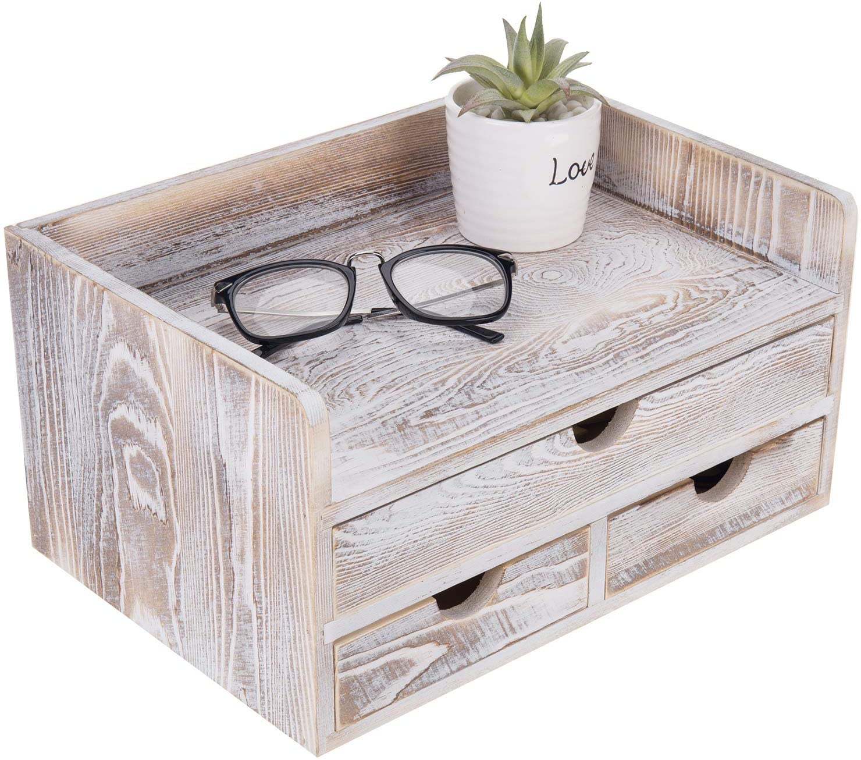 MyGift Shabby Whitewashed Wood Desktop Office Organizer with 3 Drawer Storage