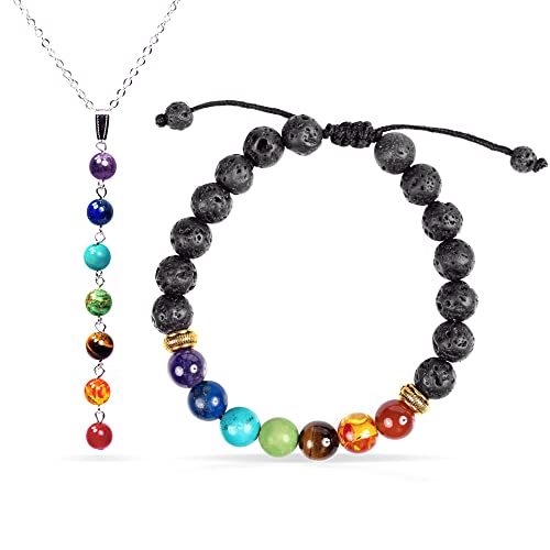 Jewelry Yoga 7 Chakra Healing Bracelet with Real Stones Y Necklace