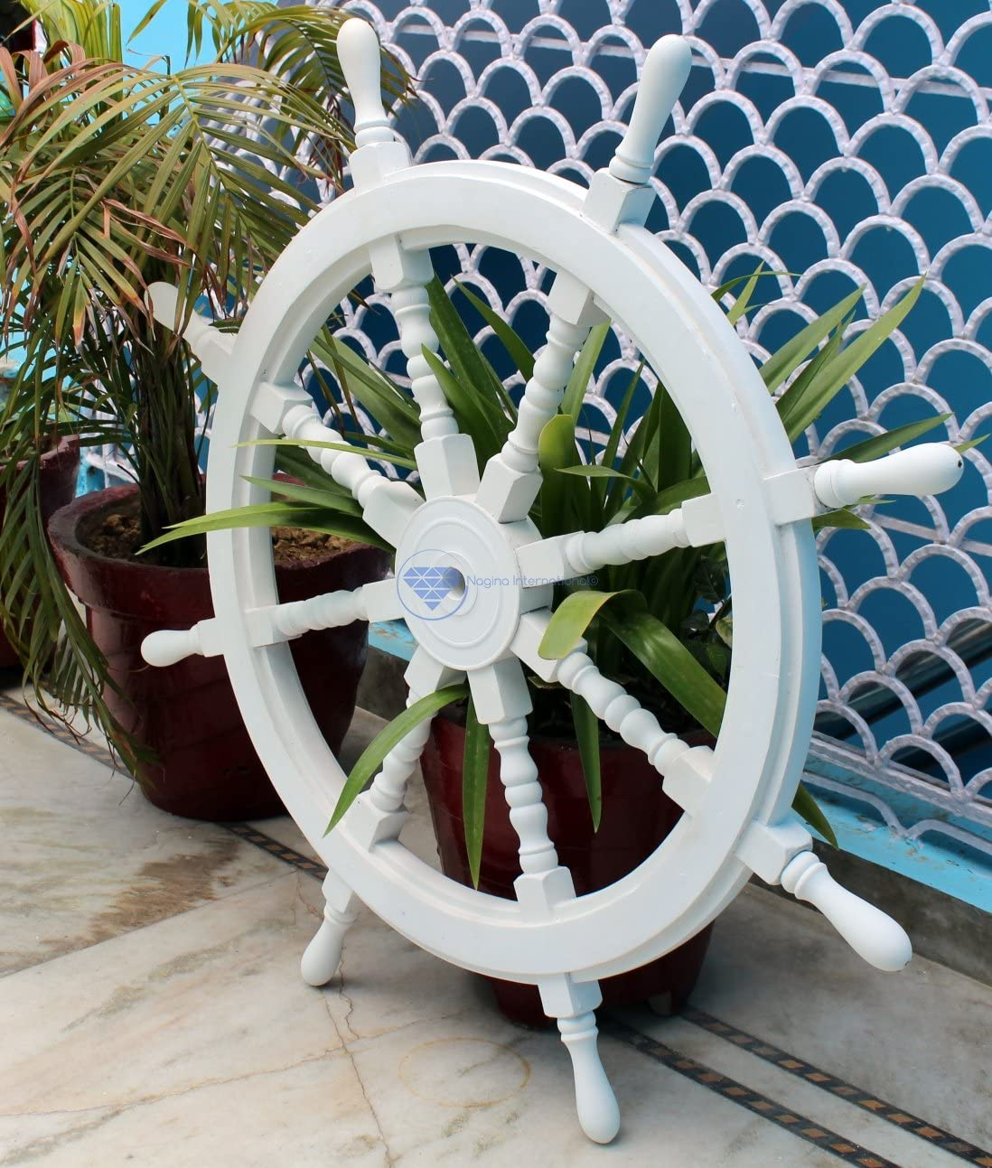 Nagina International White Washed Ship Wheel Wood Ship's Wheels/Wood Ship Steering Wheel/Nautical Home Decor (48 Inches)