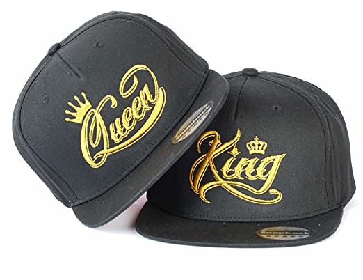 7b0841044ea King Queen Crown Gold Couple Snapback HAT Cap Embroidered Rapper CAPS Hats  (ONE Size)  Amazon.co.uk  Clothing
