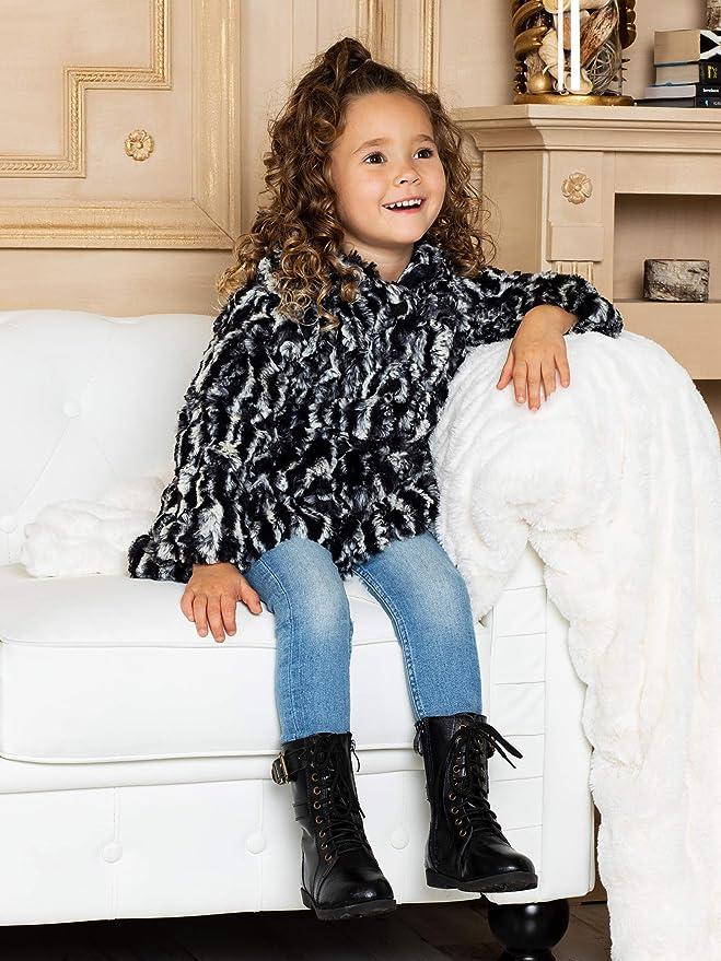 Widgeon Big Girls Button Front Faux Fur Coat Size 5 Amur Leopard