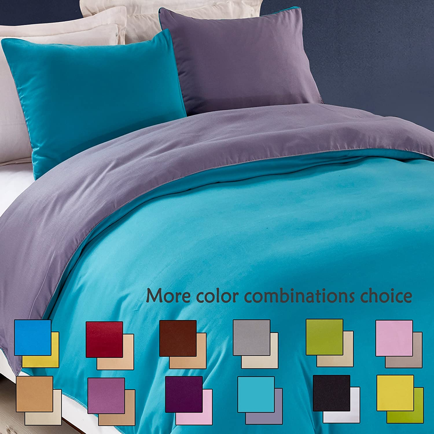 3 Pieces Full/Queen Reversible Solid Color Microfiber Duvet Cover Set