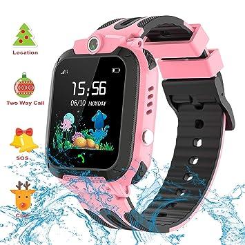 Vannico Smartwatch Niños, Reloj GPS Niños Localizador con Cámara Juego SOS 3-12 Años Regalo de Cumpleaños Niño Niña Compatible con iOS/Android (Rosa ...