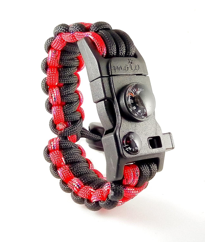 Paracord Bracelet - Survival Bracelet - Men Women Kid Girl - Adjustable -  MINI MULTI TOOL CARD - Scrapper - Whistle - Compass - Flint Fire Starter ... ddfe7ef330a