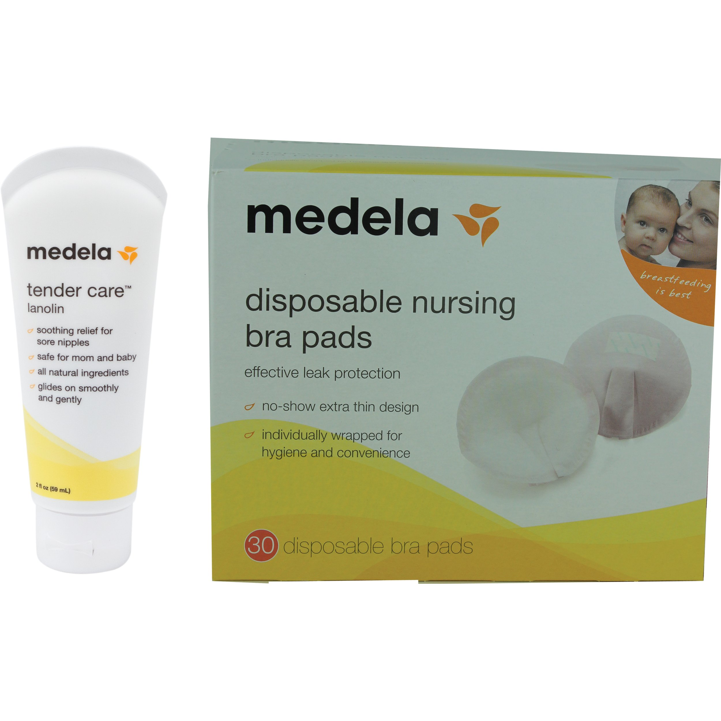 Medela Tender Care Lanolin, (2 oz) WITH Disposable Nursing Bra Pads (30 Count) for Nursing Moms