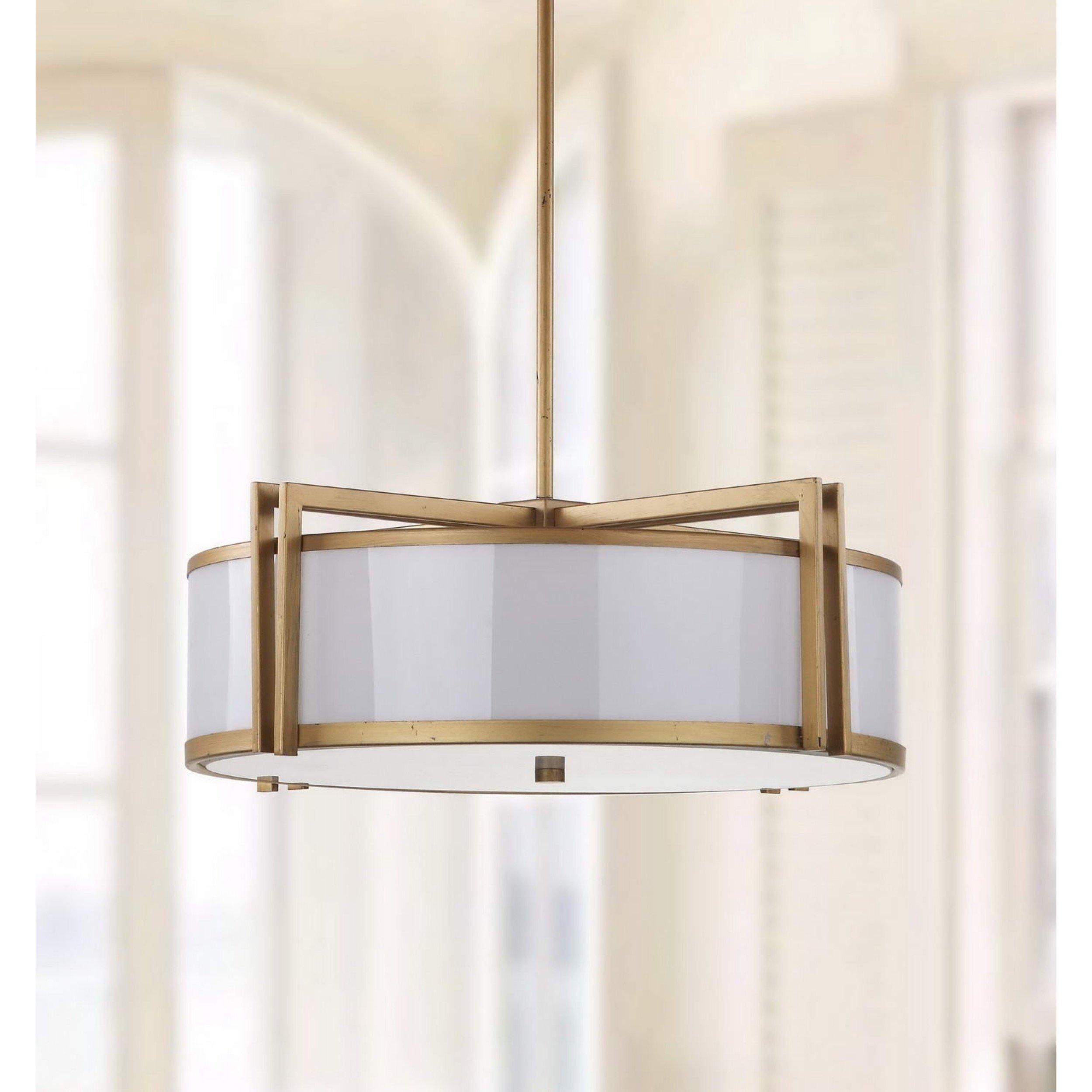 Safavieh Lighting Collection Orb Antique Gold 45.9-inch Drum Pendant Light
