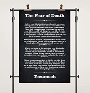 The Fear of Death, Tecumseh, Tecumseh Quote Poster, Chief Tecumseh Wall Art, Chalkboard Background Native American Quote