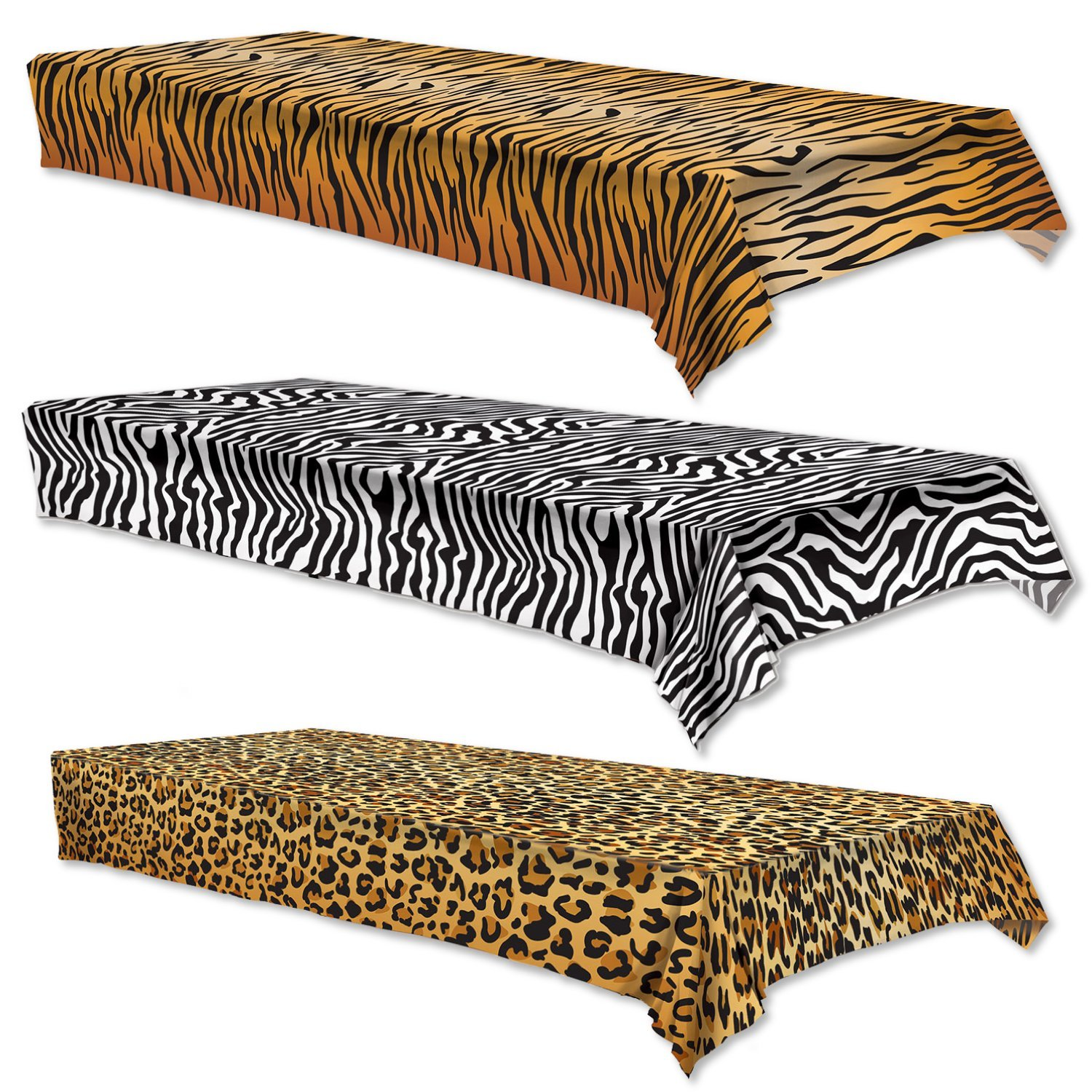 Zoo Animal Print Table Covers - Set of 3 - Zebra, Tiger, Leopard (54 x 108)