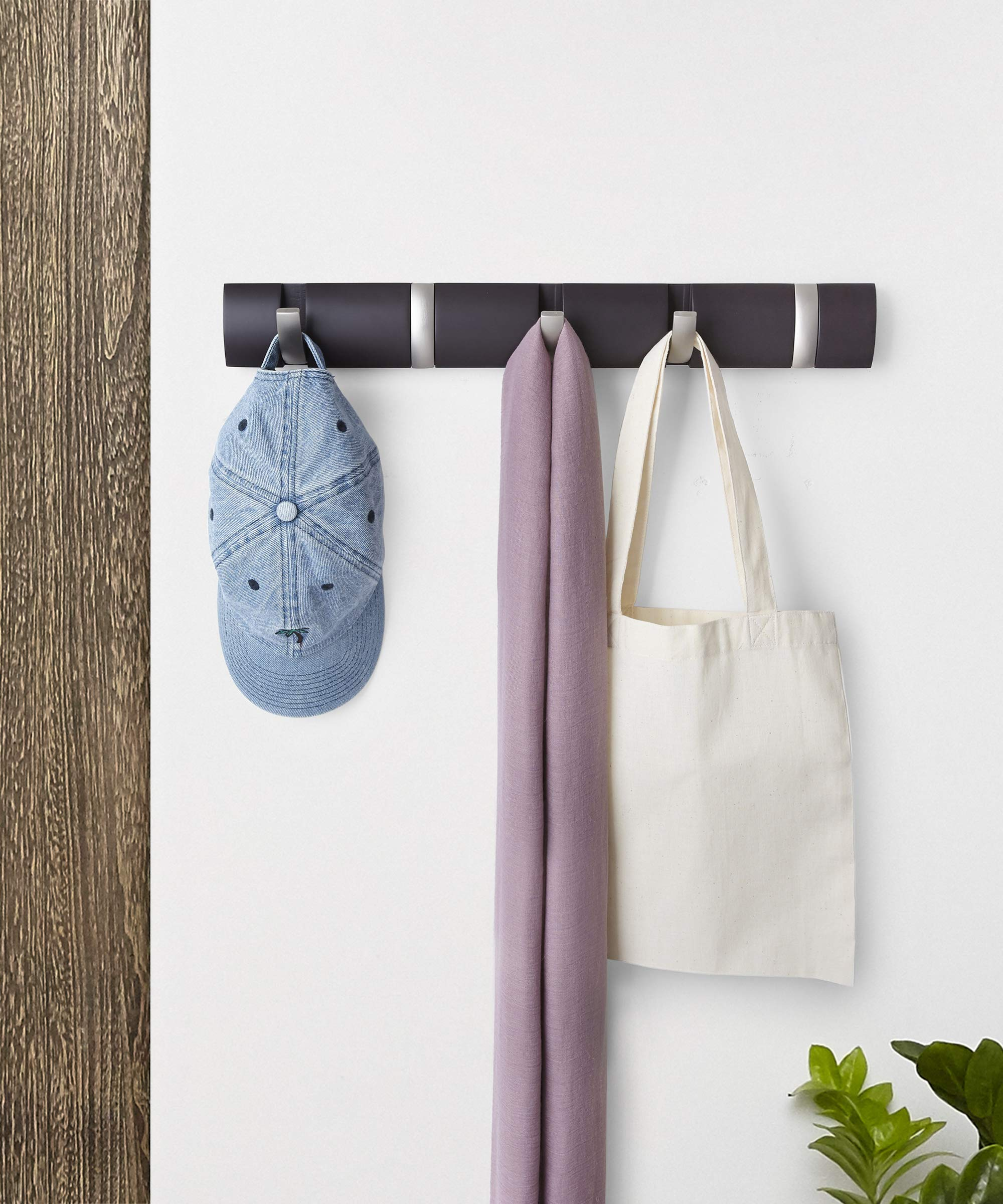 Umbra Flip 5-Hook Wall Mounted Floating Coat Rack – Modern, Sleek, Space-Saving Coat Hanger with 5 Retractable Hooks to Hang Coats, Scarfs, Purses and More, Espresso/Nickel - MULTI-PURPOSE WALL MOUNTED HANGER: More than just a coat rack, Umbra Flip is a unique wall mounted rail that features retractable hooks for hanging a variety of items including coats, scarves, purses, umbrellas, towels, clothing and more MODERN SPACE-SAVING DESIGN: Unlike traditional coat racks that eat up valuable floor space, Flip(R) is a wall-mounted solution that is ideal for small living spaces or confined entryways thanks to its sleek, streamlined profile and retractable hooks that stow away when not in use ATTRACTIVE & VERSATILE SOLUTION: Available in a variety of stylish finishes to match your existing decor, Flip(R) looks great and is versatile enough to use on virtually any wall in your entryway, bedroom, bathroom, office, or dorm room - entryway-furniture-decor, entryway-laundry-room, coat-racks - 81DunKIJGaL -