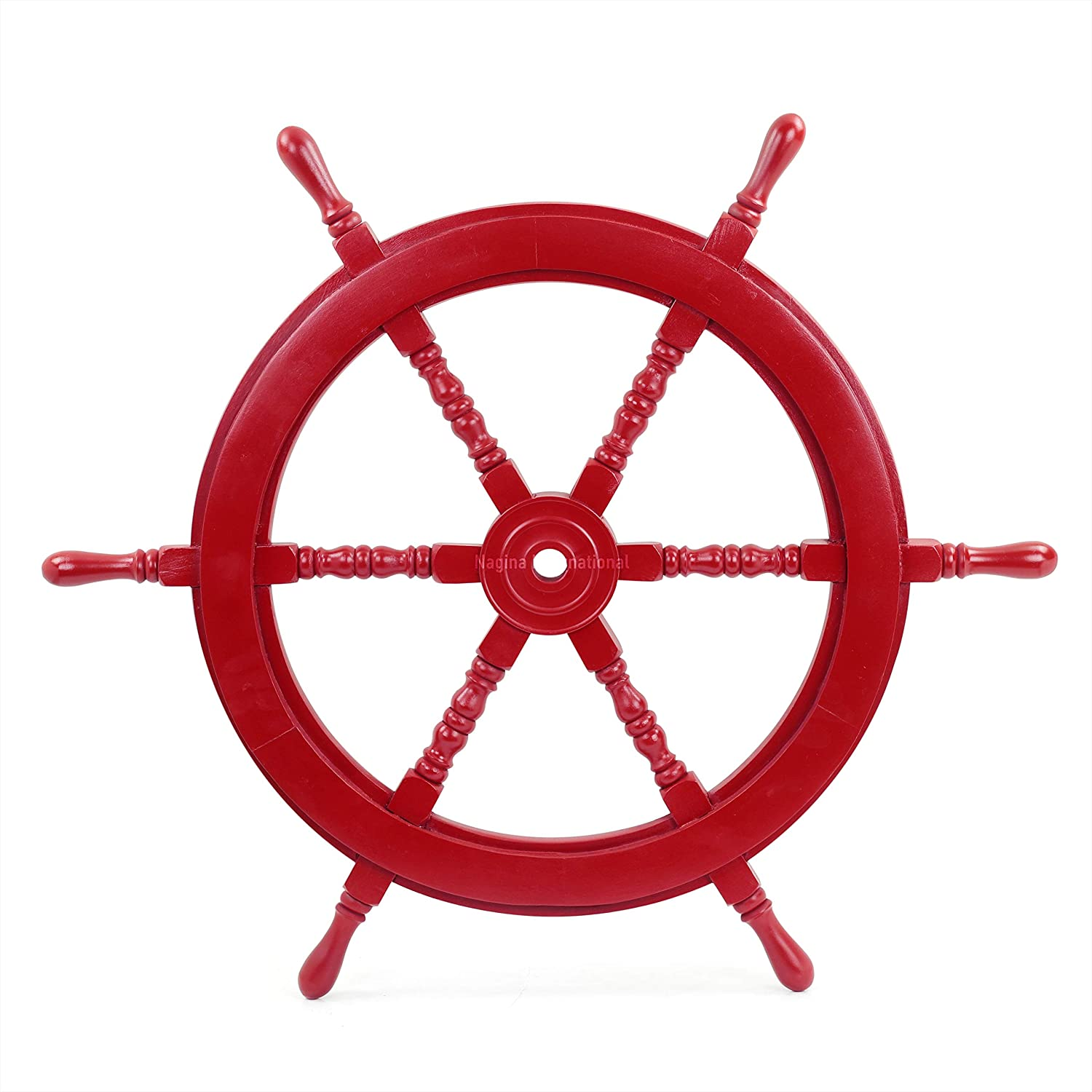 Nautical Handcrafted Wooden Ship Wheel - Home Wall Decor - Nagina International (30 Inches, Red)