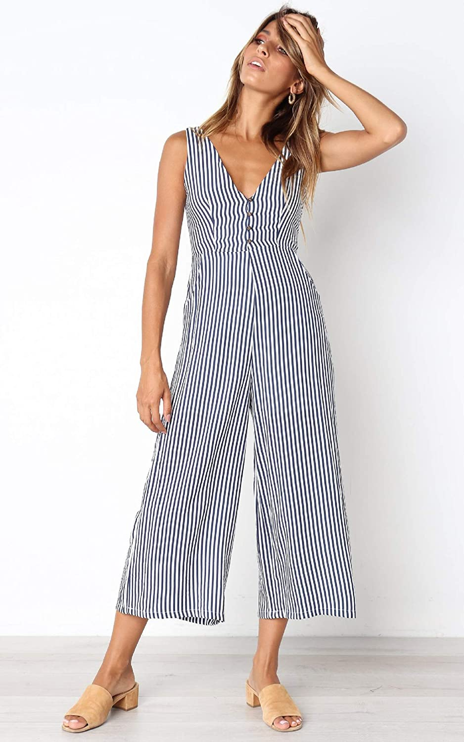 Women Long Jumpsuits and Rompers Solid Color Short Sleeve V Neck Slef Belted Overalls Casual Summer Wide Leg Pants Rompers