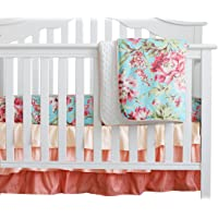 3 pcs Set Boho Floral Ruffle Baby Minky Blanket Water Color, Peach Floral Nursery Crib Skirt Set Baby Girl Crib Bedding