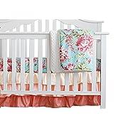3 pcs Set Boho Floral Ruffle Baby Minky Blanket Water Color, Peach Floral Nursery Crib Skirt Set Baby Girl Crib Bedding (Aqua)