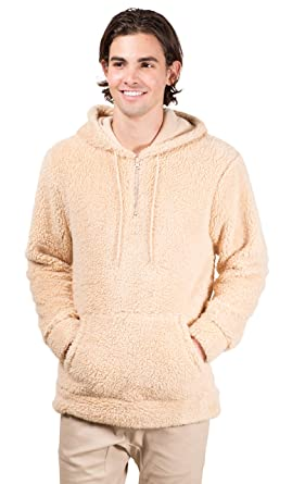 b86e211c Brooklyn Surf Men's Quarter Zip Sherpa Hoodie Sweatshirt Sweater, Biscuit,  Medium