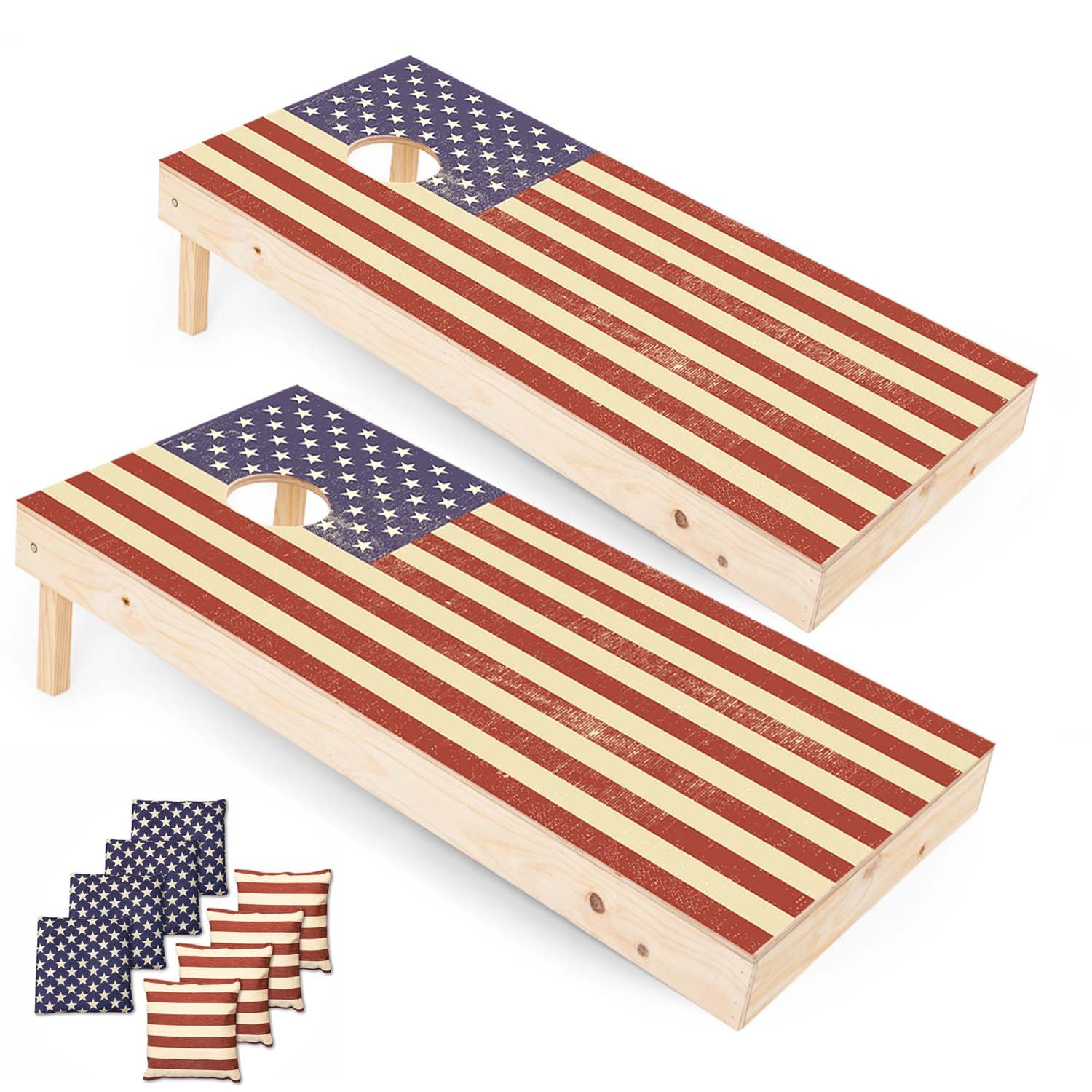 Play Platoon Regulation American Flag Cornhole Boards - 2 x 4 Ft Tournament Size Wooden Corn Hole Board Game Set by Play Platoon (Image #1)