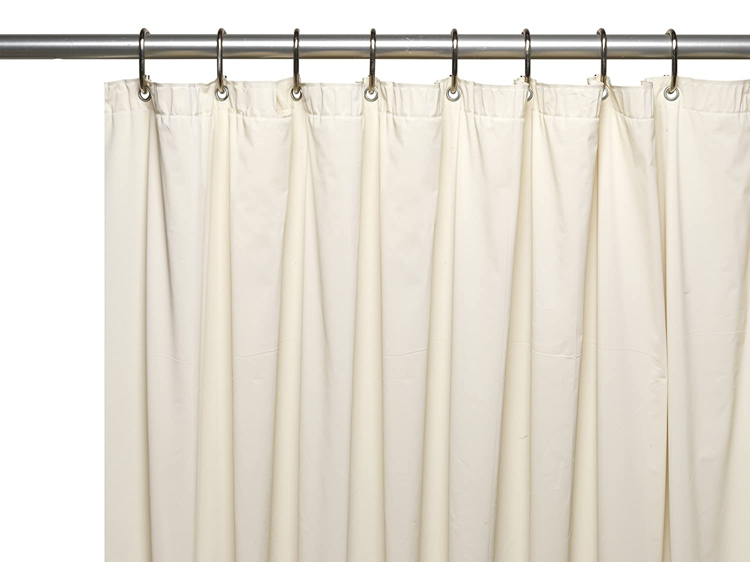 Carnation Home Fashions Special Sized Wide 10 Gauge Vinyl Shower Curtain Liner 48' Bone USC-10/48W/15