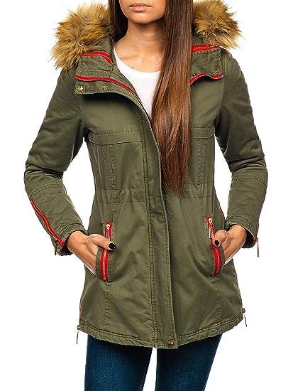 BOLF Damen Winterjacke Parka Jacke Reißverschluss Zip Kapuze Sport Style  D4D  Amazon.de  Bekleidung 2dbdea34b4