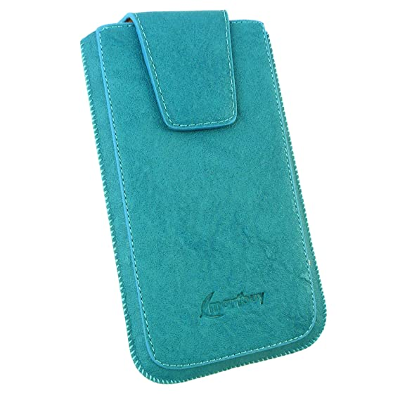 Emartbuy Faux Leather Slide in Pouch Case Cover with Magnetic Flap for HTC U Ultra  17.5x10.4x1cm    Blue Classic Mobile Accessories